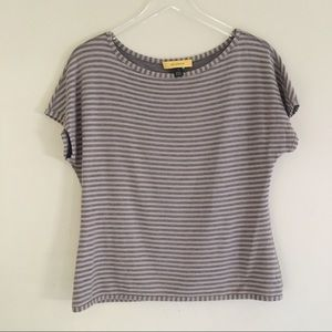 ST. JOHN Grey & Tan Stripe Short Sleeve Top M